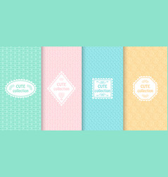 Set of cute pastel seamless patterns with frames vector