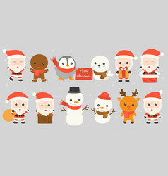 set of santa claus such as in chimney vector image