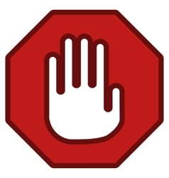 Stop Hand Sign Toolbar Icon vector image vector image
