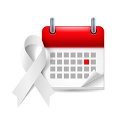 White awareness ribbon and calendar vector