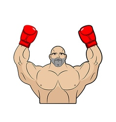 Winner champion of boxing Strong man on white vector image