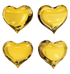 Yellow hearts vector image vector image