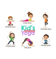 yoga kids poses cartoon vector image