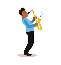 Young black man playing sax cartoon character vector