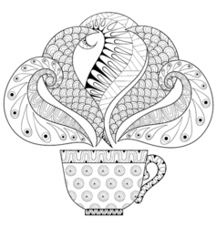 Zentangle stylized cup of tea with steam hot vector