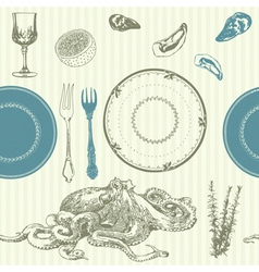 Vintage food hand drawn patterns vector image