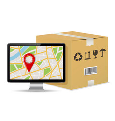 Shipping parcel tracking order design vector