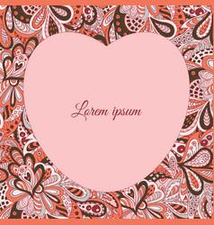 floral doodle ethnic pattern heart frame pastel vector image