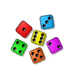 coloured playing dices with shadow vector image
