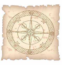 Old compass on paper background vector