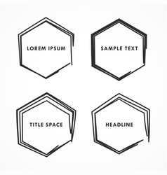 Hexagonal frame in scribble and doodle style vector