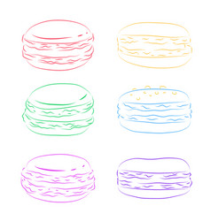 Set of contour multicolored macaroon element for vector