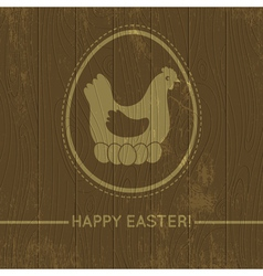 Wooden background with easter eggs and hen vector