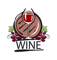 Logo red wine barrel and the vine vector