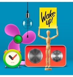 Wake up workspace mock up with analog alarm clock vector