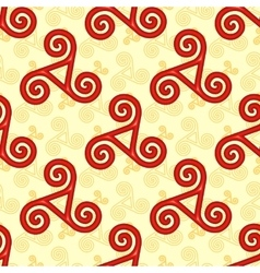 Red and yellow celtic triskels seamless pattern vector