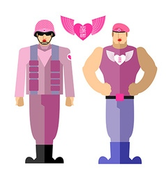Army soldiers love military in a pink dress with vector