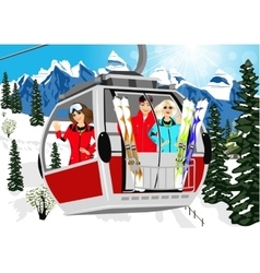 Cable car or booth carrying skiers in mountains vector