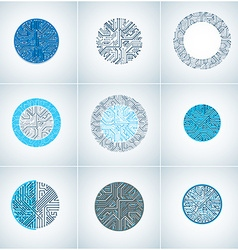 Set of abstract technology elements with round vector