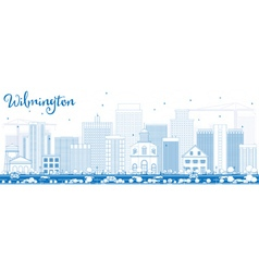 Outline wilmington skyline with blue buildings vector