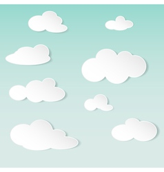 abstract background with white paper clouds vector image