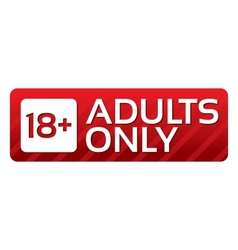 Adults only content button red sticker vector