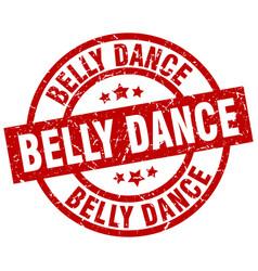 Belly dance round red grunge stamp vector