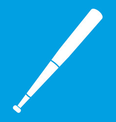 Black baseball bat icon white vector