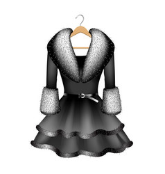 Black dress with fur collar and fur sleeves vector