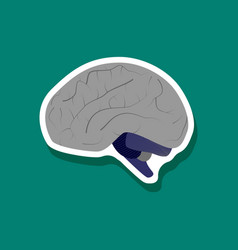 Brain paper sticker on stylish background vector