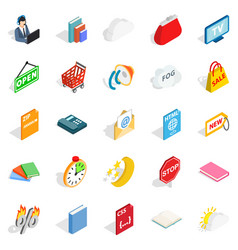 Business applications icons set isometric style vector