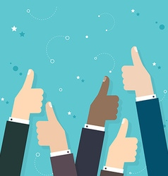 Business people holding many thumbs thumbs up vector