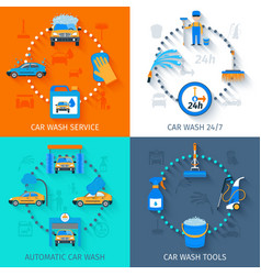 Car wash service 4 icons flat vector