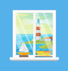 cartoon windows lighthouse view vector image vector image
