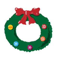 christmas wreath with bow vector image