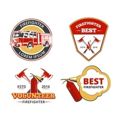 Color firefighter emblems labels and badges vector