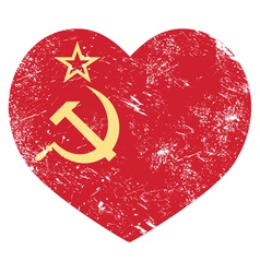 Communism USSR - Soviet union retro heart flag vector image vector image