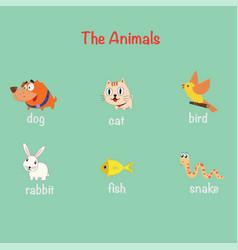 cute pet cartoon character set flat style vector image
