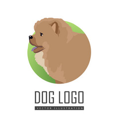 Dog logo chow breed isolated vector