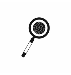 Earth with magnifying glass search icon vector