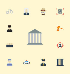 Flat icons building jury judge gavel and other vector