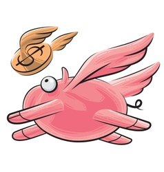 Flying pig and dollar vector