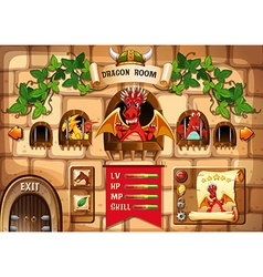 Game template with dragon and castle background vector image vector image