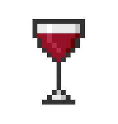 glass wine pixel art cartoon retro game style vector image vector image