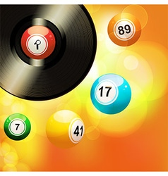 Glowing background with vinyl record and bingo vector image