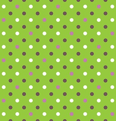 green background fabric with white pink brown dots vector image
