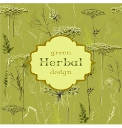 Hand drawn green herbs seamless pattern background vector image vector image