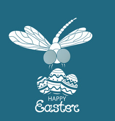 happy easter paschal eggs dragonfly vector image vector image