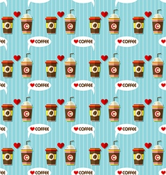 hot coffee and cold coffee seamless pattern vector image