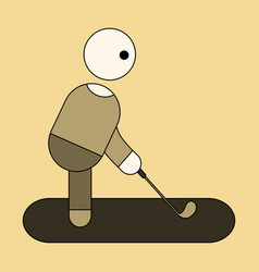 icon in flat design stick figure golf vector image